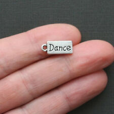 10 Dance Charms Antique Silver Tone Tag Style - SC1870