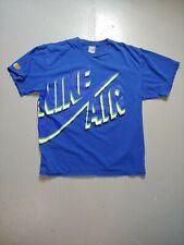 Blue NIKE Air t-shirt Men's M Medium big logo print 90s silver gray tag vintage