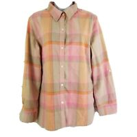 Liz and Co Womens Shirt Size XL Plaid Long Rolled Sleeve Blouse Top Button Down