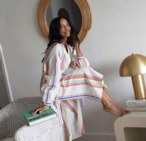 Lemlem x H&M Kaftan Dress XS Stripe Midi Lyocell White Multi Belt Women's NWT