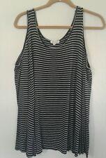 Ultra Flirt Cold-Shoulder long sleeve Top, Black/White Stripe, Size Large