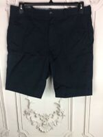 J CREW Mens 33 Casual Chino Shorts Black Flat Front Pockets Mid Length Stretch