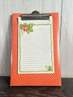 """Vintage Red And White Polka Dot Clipboard With Strawberry Notepad 9""""x6"""""""