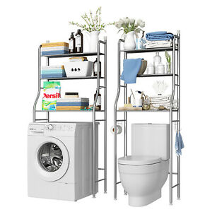 2/3 Tier Over Toilet Bathroom Laundry Washing Machine Storage Rack Shelf Shelves