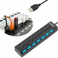 4/7 Port USB2.0 Hub Powered Splitter High Speed External AC Laptop Power Adapter