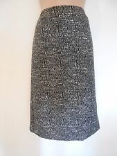 M&S Black Mix Long Office Wool Mix Textured Tweed Pencil Skirt (NEW)-UK size 8