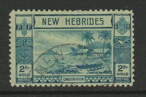 New Hebrides 1938 2f Blue/ green SG 61 Fine used.