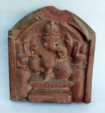 Antique Old Hindu God Ganesha Figure Carved Stone Panel Plaque Worship Statute