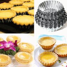 10X Réutilisable œuf Tart Aluminium Cupcake Gâteau Cookie Moule Etain Cuisson NF