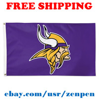 Deluxe Minnesota Vikings Team Logo Flag Banner 3x5 ft NFL Football 2019 NEW