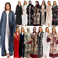 Dubai Muslim Women Abaya Open Cardigan Kaftan Jilbab Long Maxi Dress Islam Gown