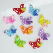 10 x Resin Double Butterfly Flat Back Embellishment - Bling Your Phone / Crafts