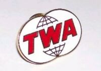 TWA Trans World Airlines, Double Globe Logo Pin Tie Tack Lapel Collar Pin Enamel