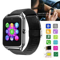 Bluetooth Smart Watch GSM SIM Unlocked Phone Stainless Steel For Android Phones
