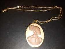 Cameo Pendant necklace African American Woman brown/ivory