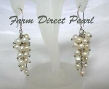 Genuine White Cultured Pearl Dangle Drop Earrings Sterling Silver Cluster Grape