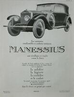 PUBLICITÉ DE PRESSE 1925 CARROSSERIES TRANSFORMABLES MANESSIUS SONT MÉTALLIQUES