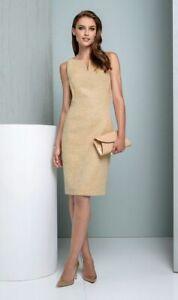 New Etcetera Womens Gilt Dress Knee Length Metallic Gold Tweed Sleeveless Size 2