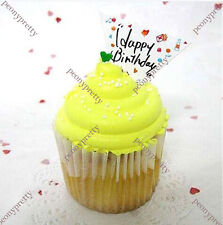 pack of 50 happy birthday cupcake cake toppers decoration birthday party