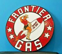 VINTAGE FRONTIER GASOLINE PORCELAIN GAS RARIN TO GO PIN UP ROCKET GIRL PUMP SIGN