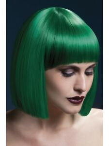 Heat Resistant Wig Washable Styleable Ladies Wig Fancy Dress Green Lola Bob Wig