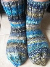 Hand knitted cozy and warm wool blend socks, blue tones