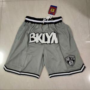 Brooklyn Nets Gray Black White Swingman Throwback Shorts