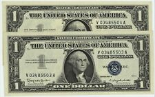 TWO CONSEC 1957 B GEM UNC U.S. SILVER CERTIFICATES ~ BRAND NEW, YET 64 YRS OLD
