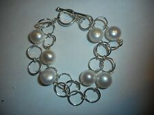 BIG 10MM CULTURED BUTTON PEARL 2ROW CIRCLE BRACELET STER VINTAGE TOGGLE CLASP