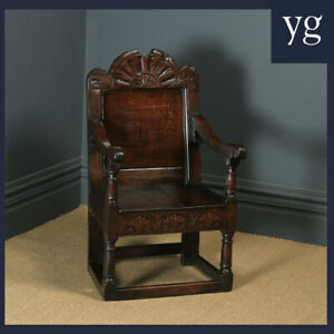 Antique English 17th Century Solid Oak Joined Wainscot Hall Library Arm Chair