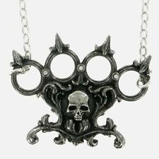 Necklace Collier Alchemy Gothic Lisbeth's Kiss American Fist Skull Dark Gothique