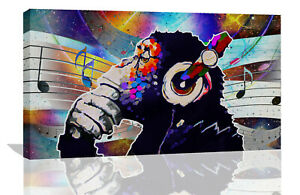 Abstract DJ Music Monkey with headphones Canvas Wall Art Print Picture
