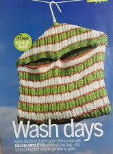 3485f9ae5f9d KNITTING PATTERN Striped Hanging Peg Bag Clothes Washing Line Home Rowan  PATTERN