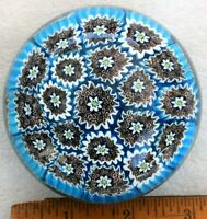 Vintage Murano Millefiori Art Glass Paperweight Signed Markus Blue Brown White