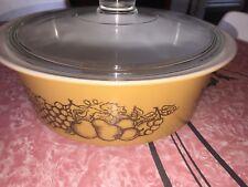 PYREX ~ VTG Old Orchard Milk Glass Casserole Big Bertha Round Dish #664 w/Lid