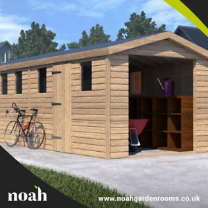 18x8 'Hampstead Garage' Heavy Duty Wooden Garden Shed/Workshop/Garage