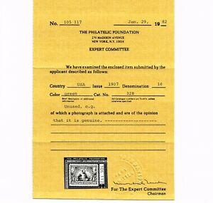 GENUINE SCOTT #328 VF MINT OG NH 1907 GREEN PF CERT 1¢ JAMESTOWN EXPOSITION