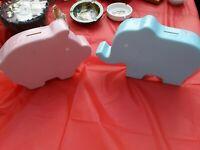 Vintage PORCELAIN Pottery Ceramic Pink Pig w/Blue elephant Piggy Bank Set RARE