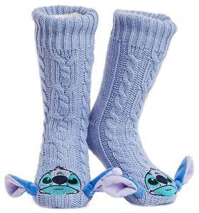 Disney Stitch Knitted Fluffy Slipper Socks Warm Fleece For Women, Teenage Girls