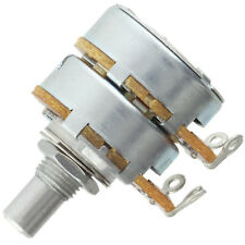 "Alpha Dual 8mm Bushing Potentiometer 100KA Log/Audio 1/4"" solid shaft solder tab"