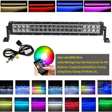 "22"" Inch LED Work Light Bar Offroad w/ Chasing RGB Halo Ring Bluetooth Control"