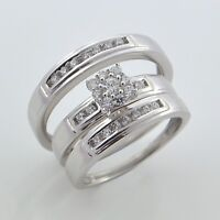 14k White Gold Over Diamond Engagement Ring Wedding Band His Her Trio Bridal Set