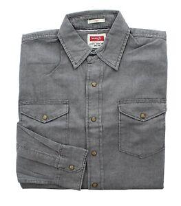Wrangler Men's Indigo Shirt Casual Long Sleeve Snap Buttons Regular Fit Twill