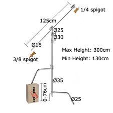 CSLR superheavyduty 300cm Solid C-Stand w125cm BRACCETTO Grip Testa ALZATA scorrevole