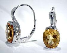 14k White Gold Lever Back Earrings Large Oval Citrine 10x8 mm