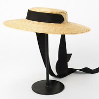 Straw Boater Hat Women Vintage Sun Hats Wide Brim Flat Summer Kentucky Derby Hat