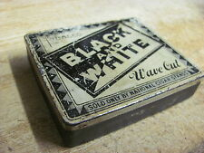 BLACK AND WHITE TOBACCO TIN WAVE CUT HINGED LID NATIONAL CIGAR STANDS VINTAGE US