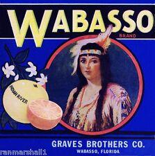 Wabasso Florida Indian Maiden #2 Orange Citrus Fruit Crate Label Art Print