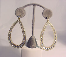 Zirconias Hanging Earring #E12 #210-A/1 Gold Plated Drop Hoops With Cubic