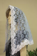 Blue veils and mantilla Catholic church chapel scarf lace Mass latin -Large